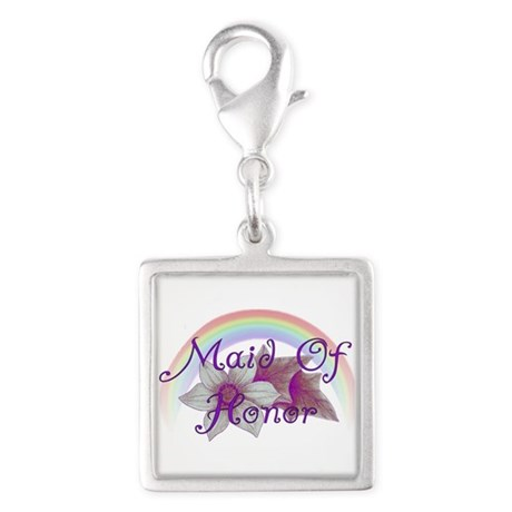 Rainbow Marriage Maid Of Honor Silver Square Charm