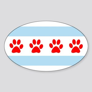 Chicago Dogs: Paw Prints Sticker (Oval)