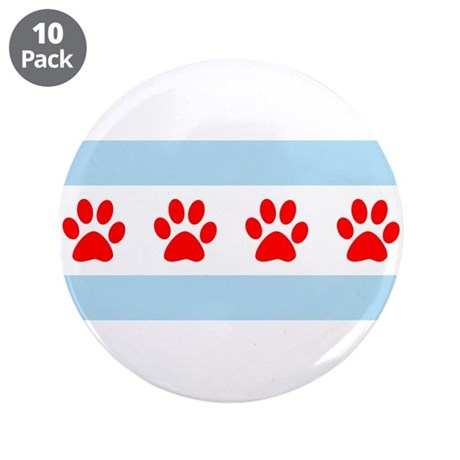 """Chicago Dogs: Paw Prints 3.5"""" Button (10 pack)"""