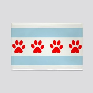 Chicago Dogs: Paw Prints Rectangle Magnet