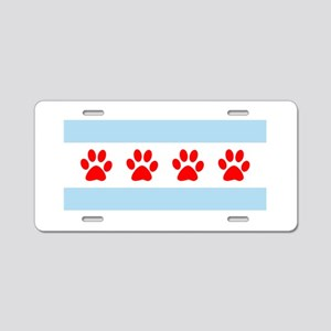 Chicago Dogs: Paw Prints Aluminum License Plate