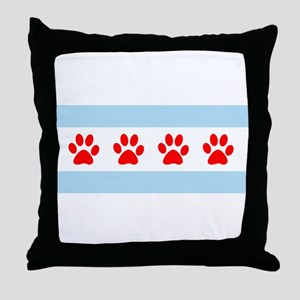Chicago Dogs: Paw Prints Throw Pillow