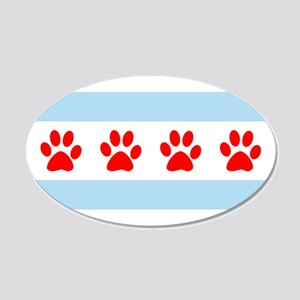 Chicago Dogs: Paw Prints 20x12 Oval Wall Decal