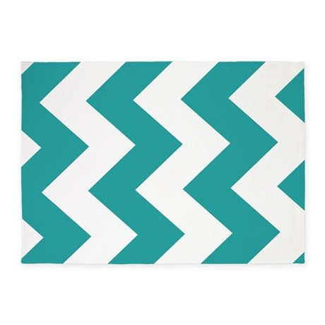Turquoise and White Chevron! 5'x7'Area Rug