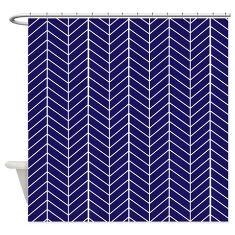 Navy Blue Herringbone Shower Curtain by InspirationzStore
