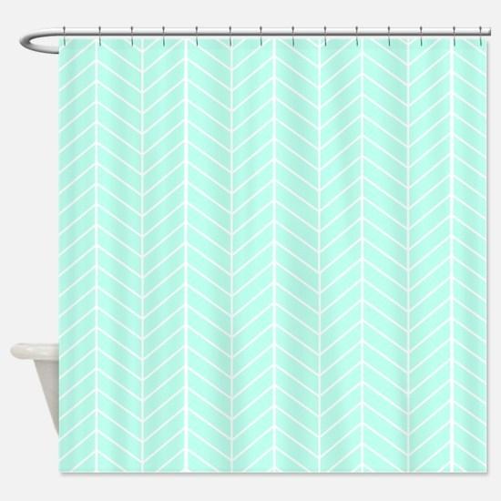 Mint Green Shower Curtain. Mint green Herringbone Shower Curtain Patterns Curtains  CafePress