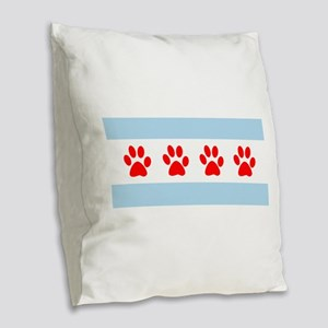 Chicago Dogs: Paw Prints Burlap Throw Pillow