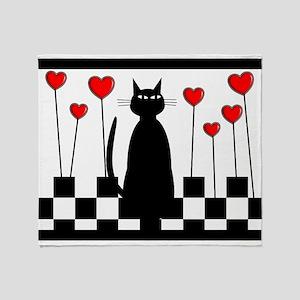 Whimsical Cat BW CHECKERED BLANKET Throw Blanket