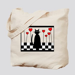Whimsical Cat BW CHECKERED BLANKET Tote Bag