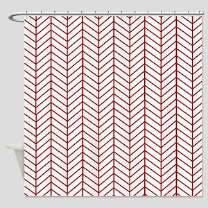 Red Herringbone Shower Curtain