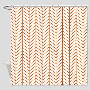Orange Herringbone Shower Curtain