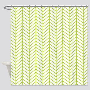 Lime Green Herringbone Shower Curtain