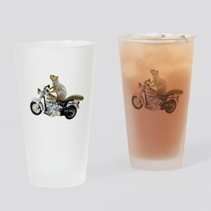 Motorcycle Squirrel Drinking Glass
