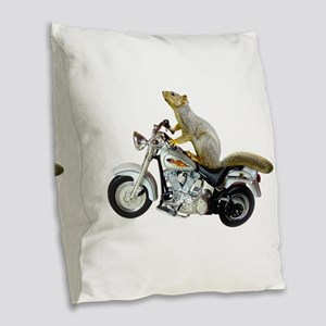 Motorcycle Squirrel Burlap Throw Pillow