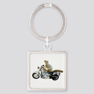 Motorcycle Squirrel Square Keychain