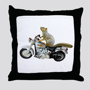 Motorcycle Squirrel Throw Pillow