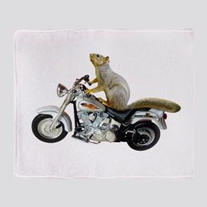 Motorcycle Squirrel Throw Blanket