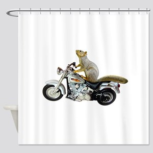 Motorcycle Squirrel Shower Curtain