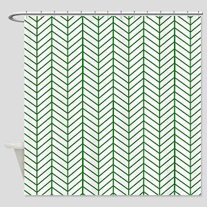 Green Herringbone Shower Curtain