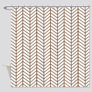 Brown Herringbone Shower Curtain