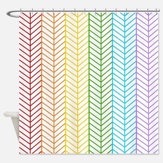 Rainbow Herringbone Shower Curtain