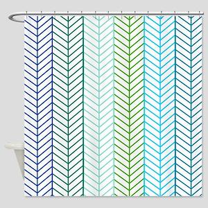 Aqua herringbone pattern Shower Curtain