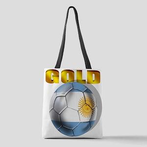 Argentina Soccer Gold Polyester Tote Bag