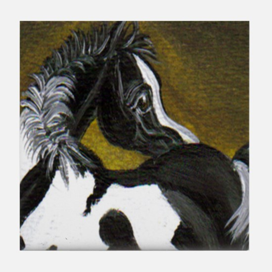 Black & White Pinto Foal Tile Coaster