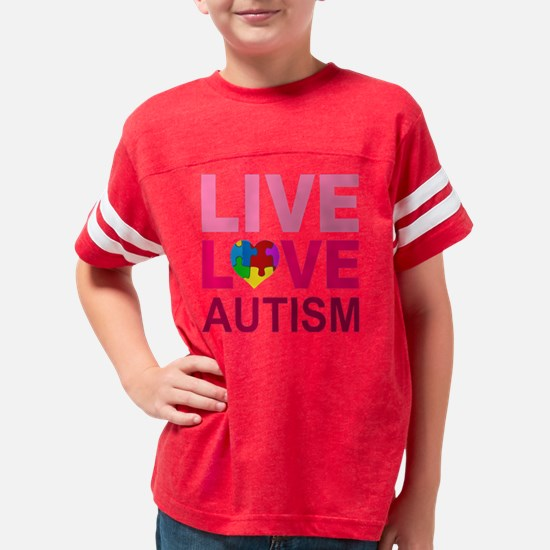 LIVE LOVE autism Youth Football Shirt