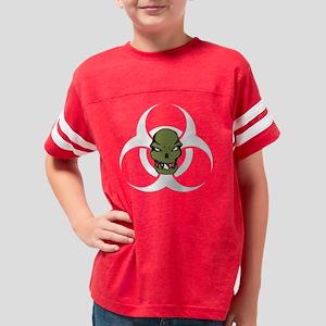 Zombie Head Biohazard White Youth Football Shirt