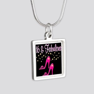 16TH PINK SHOES Silver Square Necklace