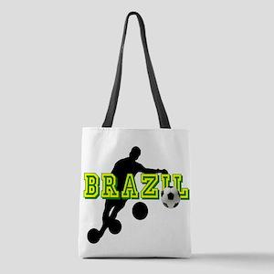 Brazil Soccer Player Polyester Tote Bag