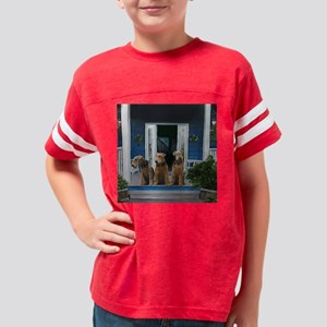 3 Airedale on porchll Youth Football Shirt