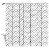 Black and white herringbone Shower Curtains