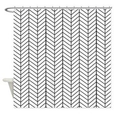 Black and white herringbone Shower Curtain