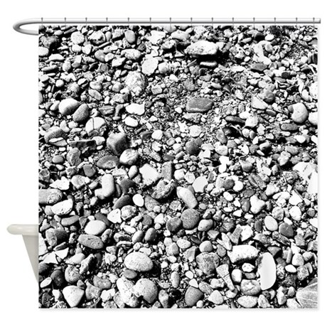 Black And White Pebbles Shower Curtain