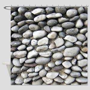 Pebble wall Shower Curtain