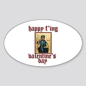 white valentine Oval Sticker
