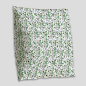 Watercolor Flower Pattern Burlap Throw Pillow