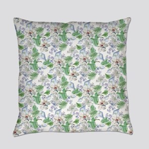 Watercolor Flower Pattern Everyday Pillow