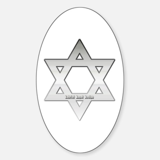 Silver Star of David Oval Decal