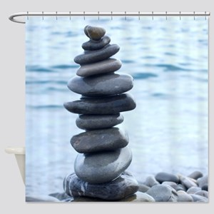 Zen Stone Tower Shower Curtain