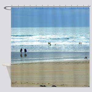 Surfers on the Beach Shower Curtain