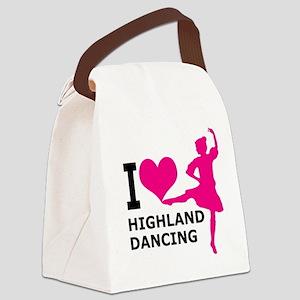 I LOVE highland dancing hot pink Canvas Lunch Bag
