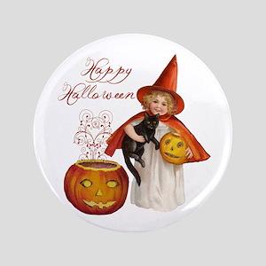 "Vintage Halloween witch 3.5"" Button"