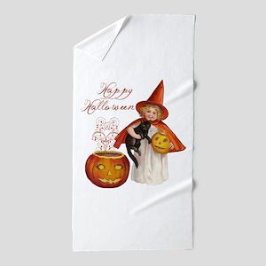 Vintage Halloween witch Beach Towel