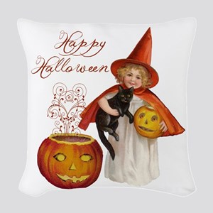 Vintage Halloween witch Woven Throw Pillow