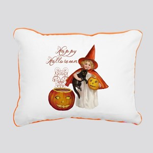 Vintage Halloween witch Rectangular Canvas Pillow