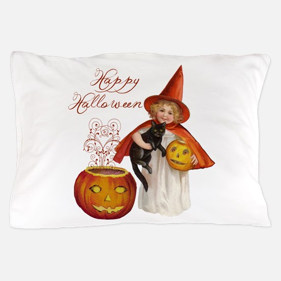 Vintage Halloween witch Pillow Case