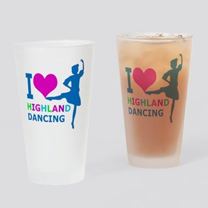 I LOVE highland dancing pink blue g Drinking Glass